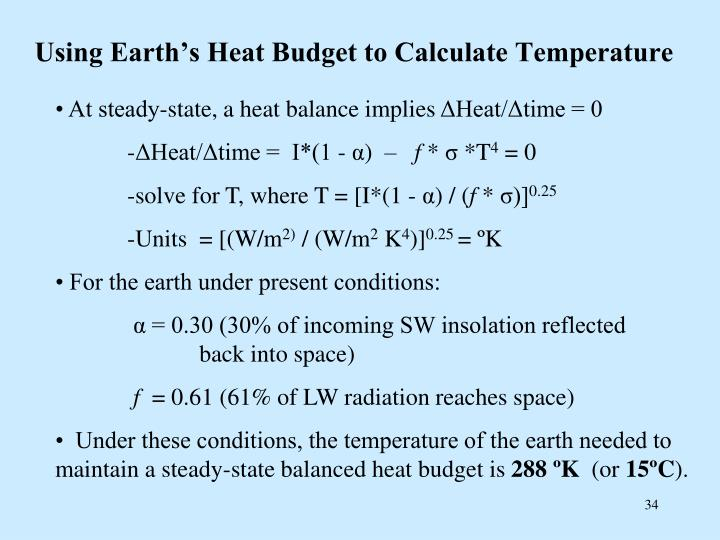 Using Earth's Heat Budget to Calculate Temperature