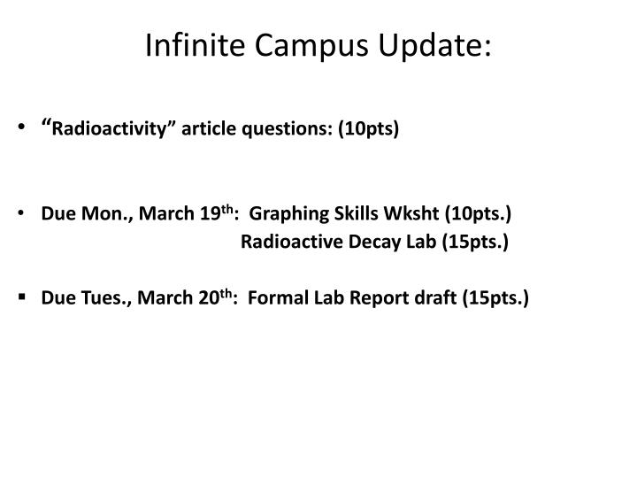 Infinite Campus Update:
