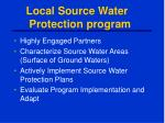 local source water protection program