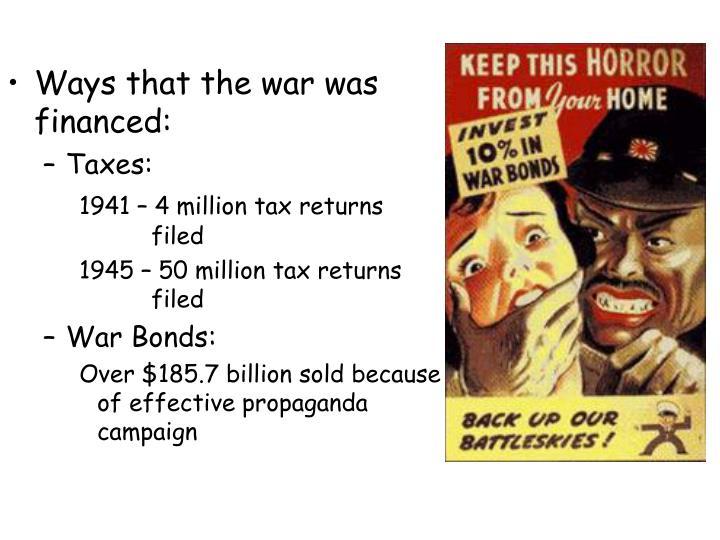 Ways that the war was financed: