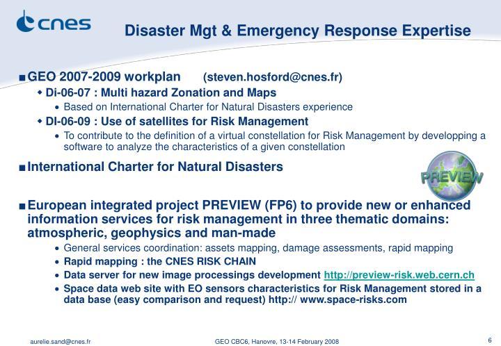 Disaster Mgt & Emergency Response Expertise