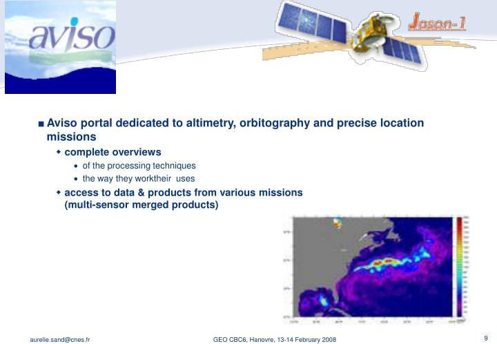 Aviso portal dedicated to altimetry, orbitography and precise location missions
