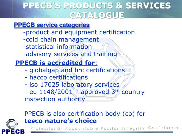 PPECB'S PRODUCTS & SERVICES CATALOGUE