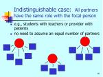 indistinguishable case all partners have the same role with the focal person