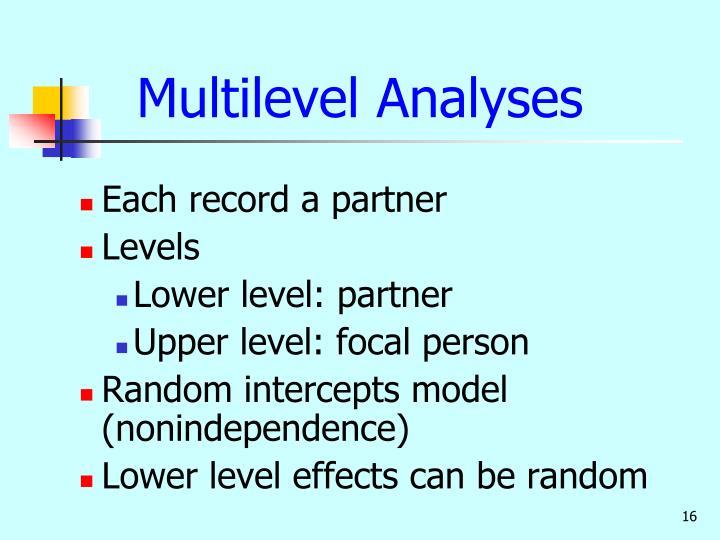 Multilevel Analyses