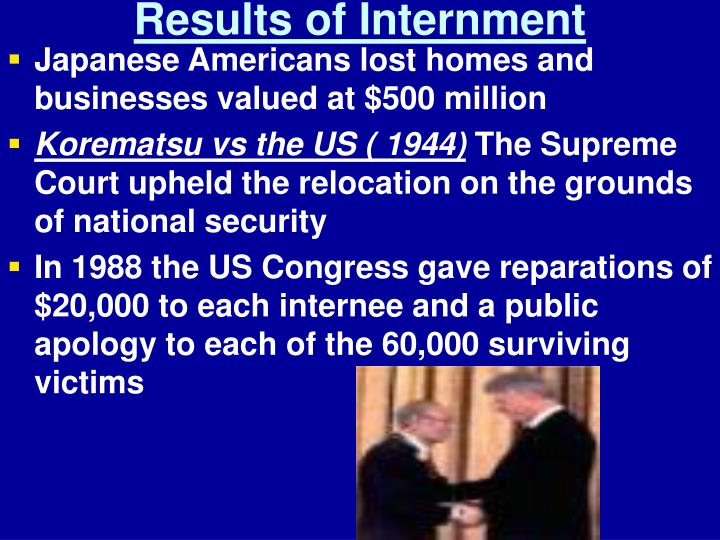 Results of Internment