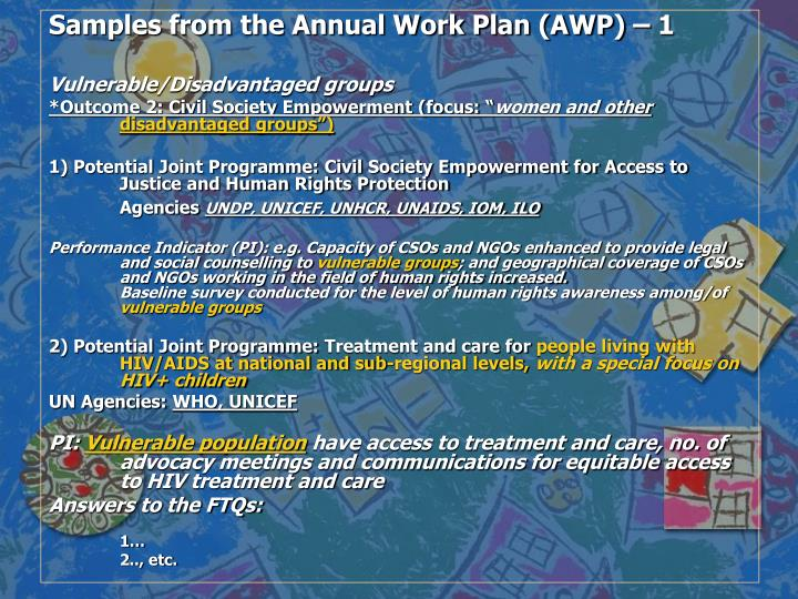 Samples from the Annual Work Plan (AWP) – 1
