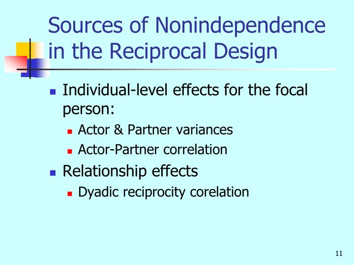 Sources of Nonindependence in the Reciprocal Design