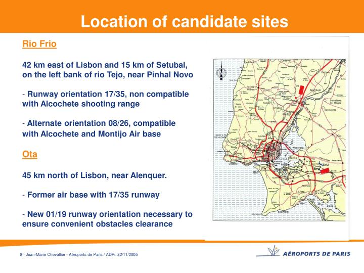 Location of candidate sites