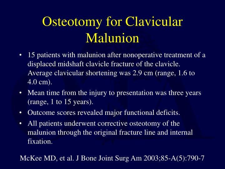 Osteotomy for Clavicular Malunion