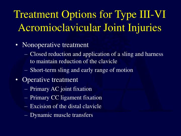 Treatment Options for Type III-VI Acromioclavicular Joint Injuries