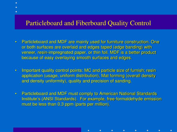 Particleboard and Fiberboard Quality Control
