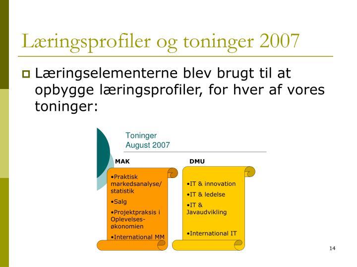 Læringsprofiler og toninger 2007