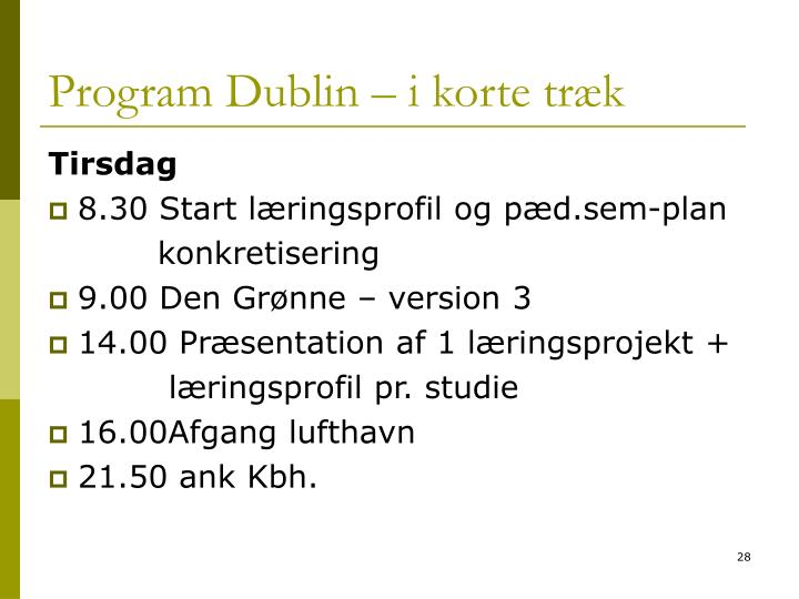 Program Dublin – i korte træk