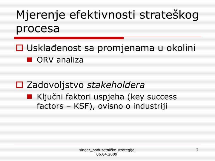 Mjerenje efektivnosti strateškog procesa