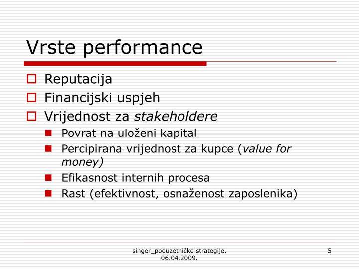 Vrste performance