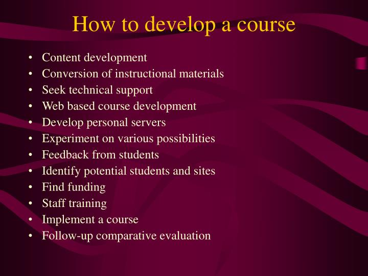 How to develop a course