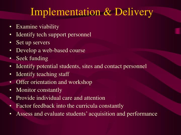 Implementation & Delivery