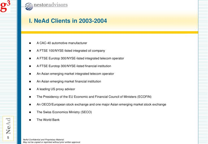 I. NeAd Clients in 2003-2004