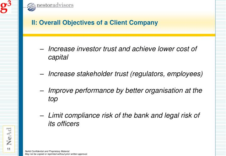 II: Overall Objectives of a Client Company