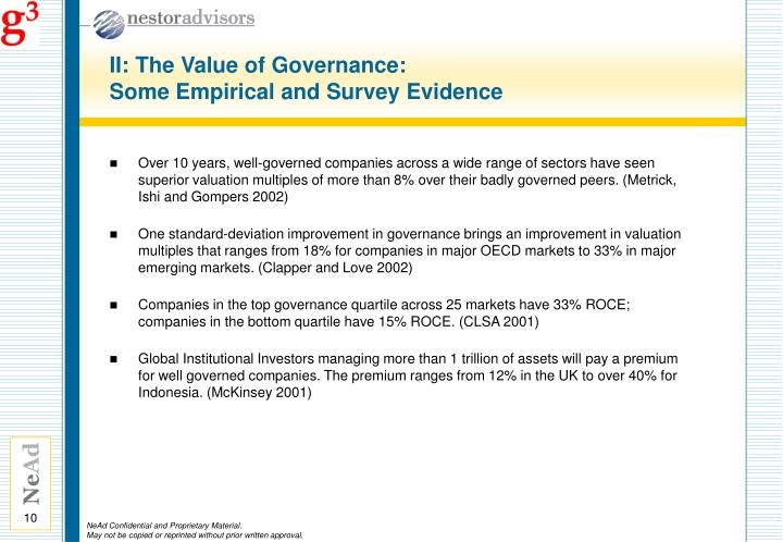 II: The Value of Governance: