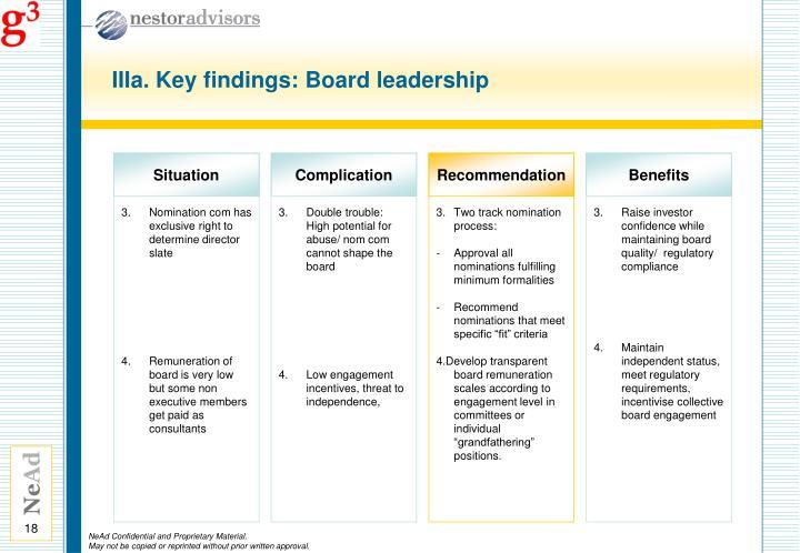 IIIa. Key findings: Board leadership