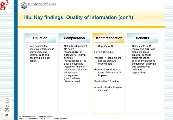 IIIb. Key findings: Quality of information (con't)