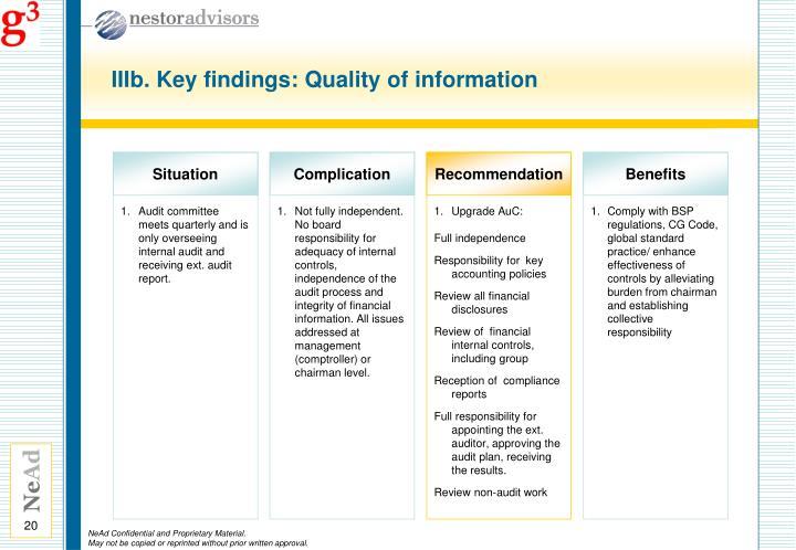 IIIb. Key findings: Quality of information