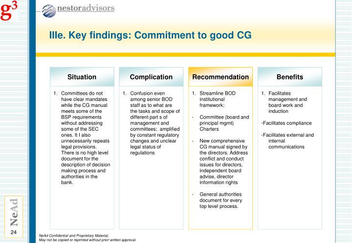 IIIe. Key findings: Commitment to good CG
