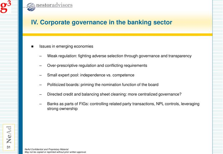 IV. Corporate governance in the banking sector