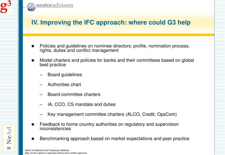 IV. Improving the IFC approach: where could G3 help