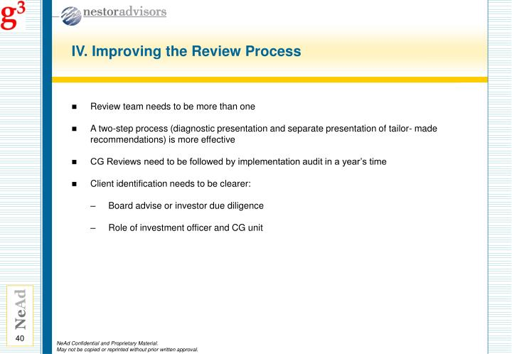 IV. Improving the Review Process