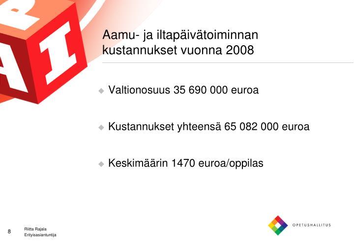 Aamu- ja iltapäivätoiminnan kustannukset vuonna 2008
