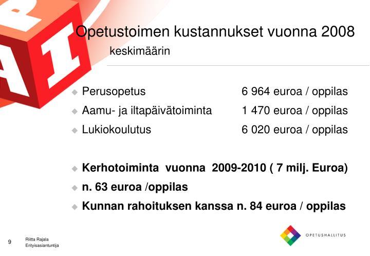 Opetustoimen kustannukset vuonna 2008