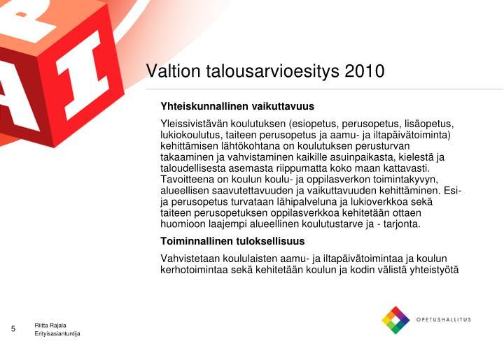 Valtion talousarvioesitys 2010