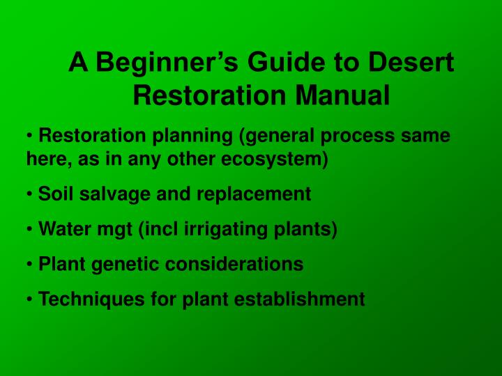 A Beginner's Guide to Desert Restoration Manual