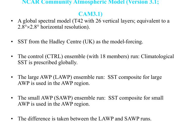 NCAR Community Atmospheric Model (Version 3.1; CAM3.1)