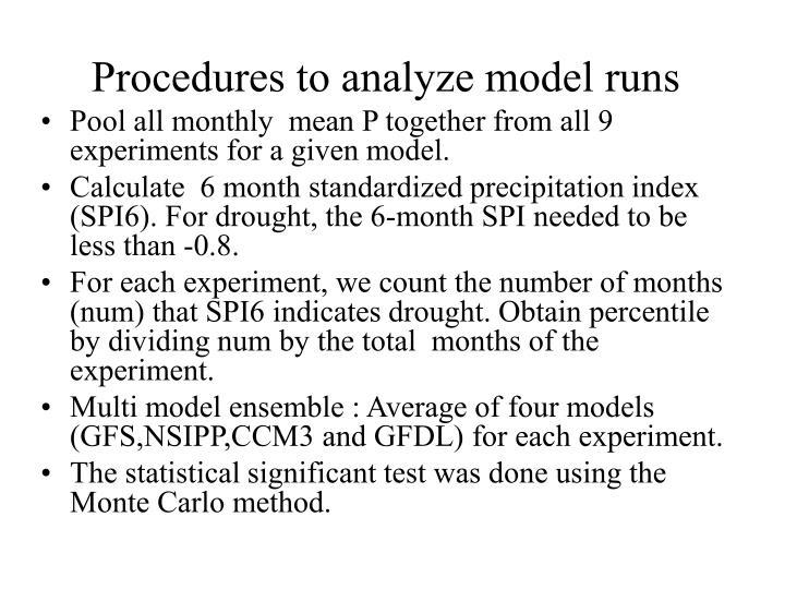 Procedures to analyze model runs
