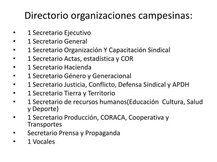 Directorio organizaciones campesinas: