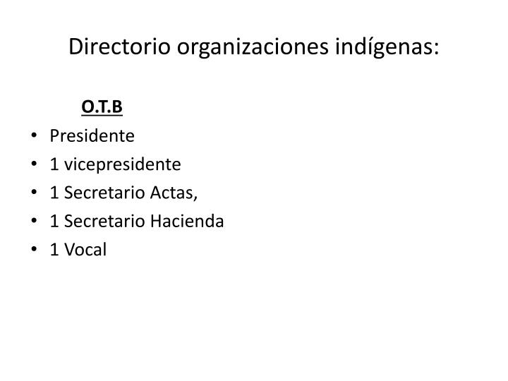 Directorio organizaciones indígenas: