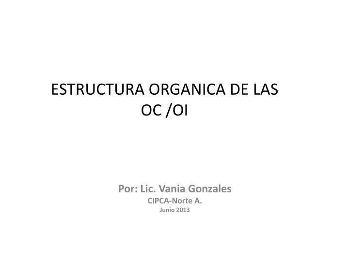ESTRUCTURA ORGANICA DE LAS