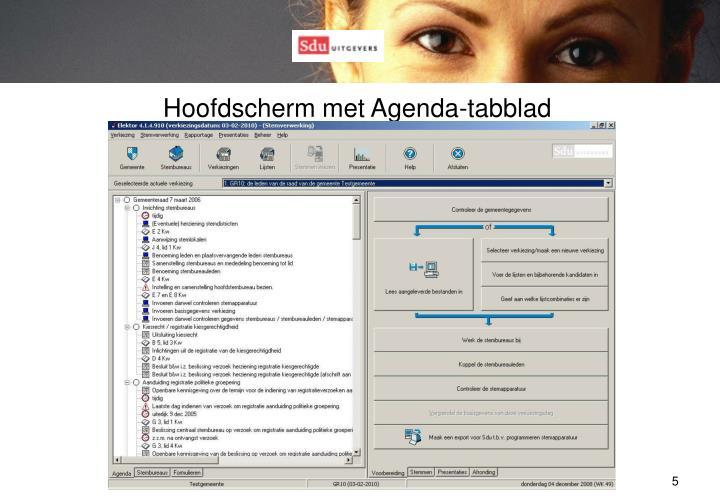 Hoofdscherm met Agenda-tabblad