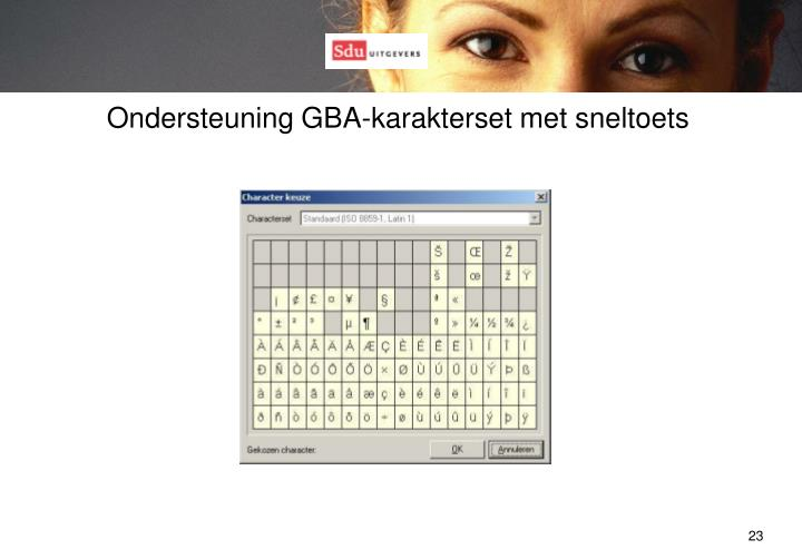 Ondersteuning GBA-karakterset met sneltoets