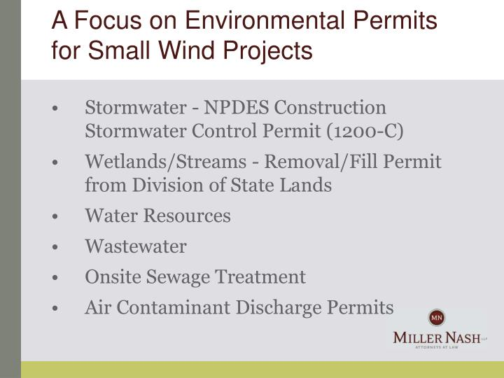 A Focus on Environmental Permits for Small Wind Projects