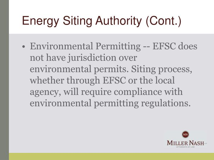 Energy Siting Authority (Cont.)
