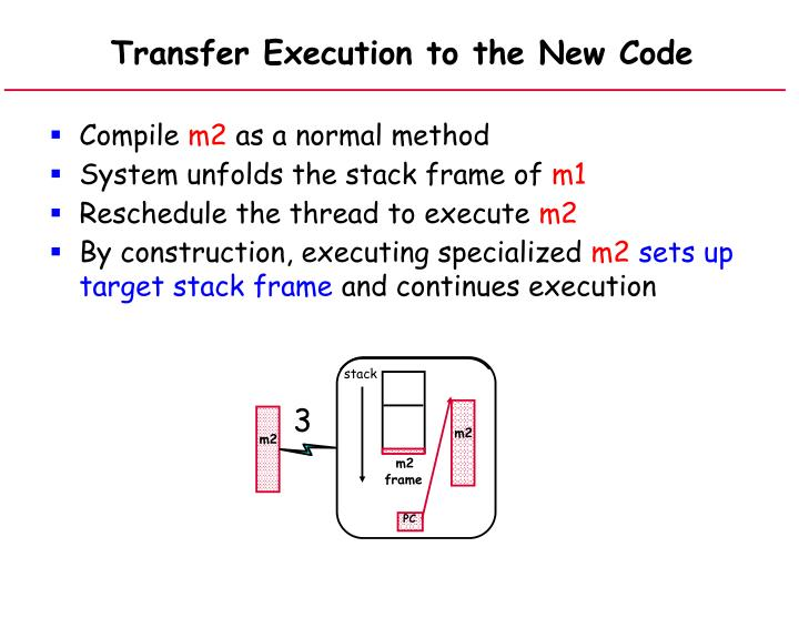 Transfer Execution to the New Code
