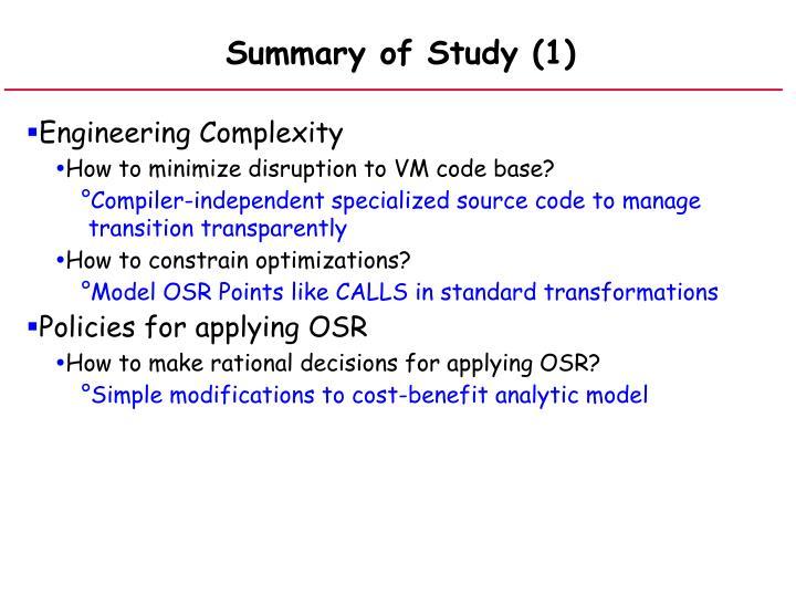 Summary of Study (1)