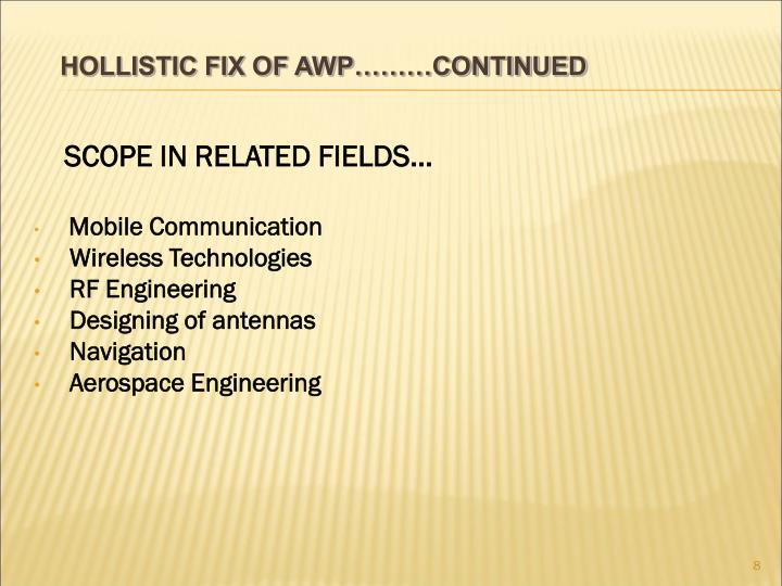 SCOPE IN RELATED FIELDS…