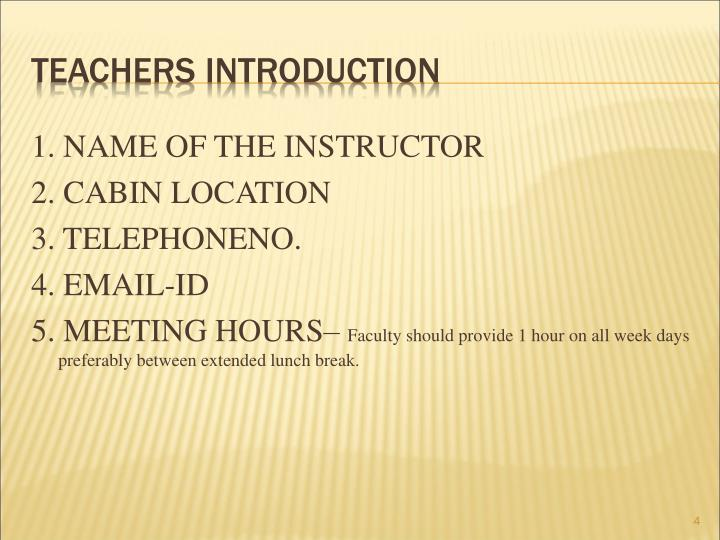 TEACHERS INTRODUCTION