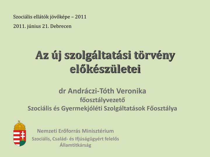 Szociális ellátók jövőképe – 2011